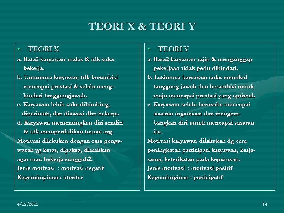 4/12/2015 14 TEORI X & TEORI Y TEORI XTEORI X a.Rata2 karyawan malas & tdk suka bekerja.