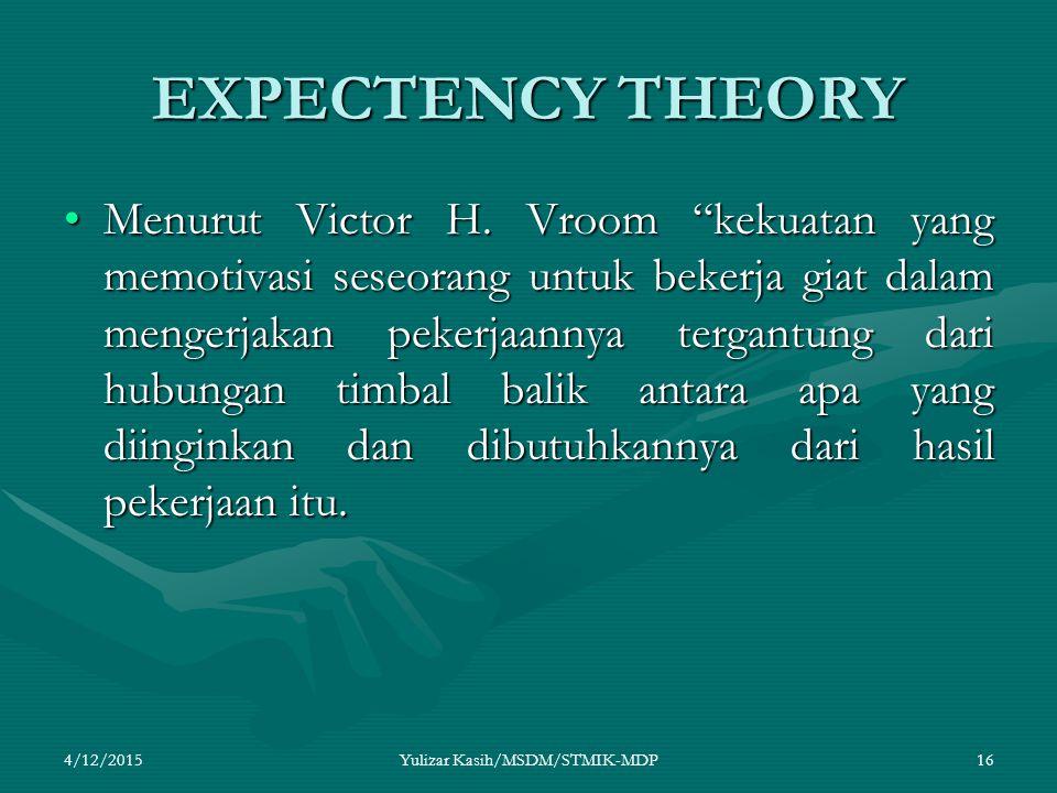 EXPECTENCY THEORY Menurut Victor H.