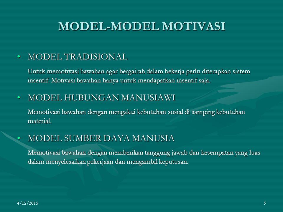 4/12/2015 5 MODEL-MODEL MOTIVASI MODEL TRADISIONALMODEL TRADISIONAL Untuk memotivasi bawahan agar bergairah dalam bekerja perlu diterapkan sistem insentif.
