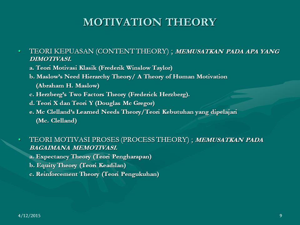 4/12/2015 9 MOTIVATION THEORY TEORI KEPUASAN (CONTENT THEORY) ; MEMUSATKAN PADA APA YANG DIMOTIVASI.TEORI KEPUASAN (CONTENT THEORY) ; MEMUSATKAN PADA APA YANG DIMOTIVASI.