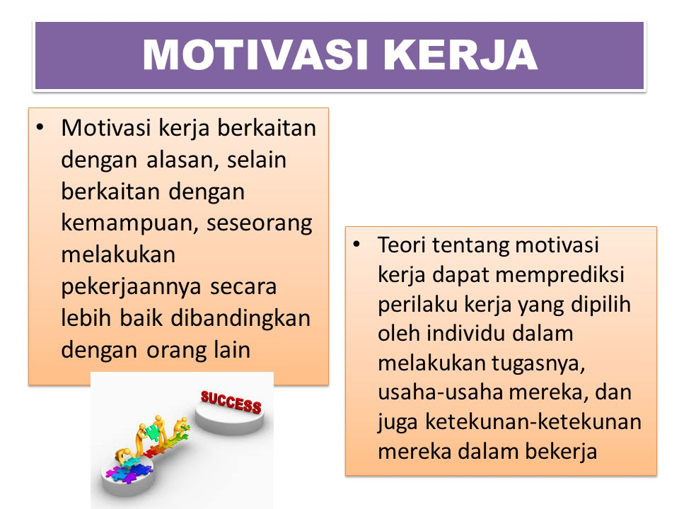 MOTIVASI KERJA Motivasi kerja berkaitan dengan alasan, selain berkaitan dengan kemampuan, seseorang melakukan pekerjaannya secara lebih baik dibanding
