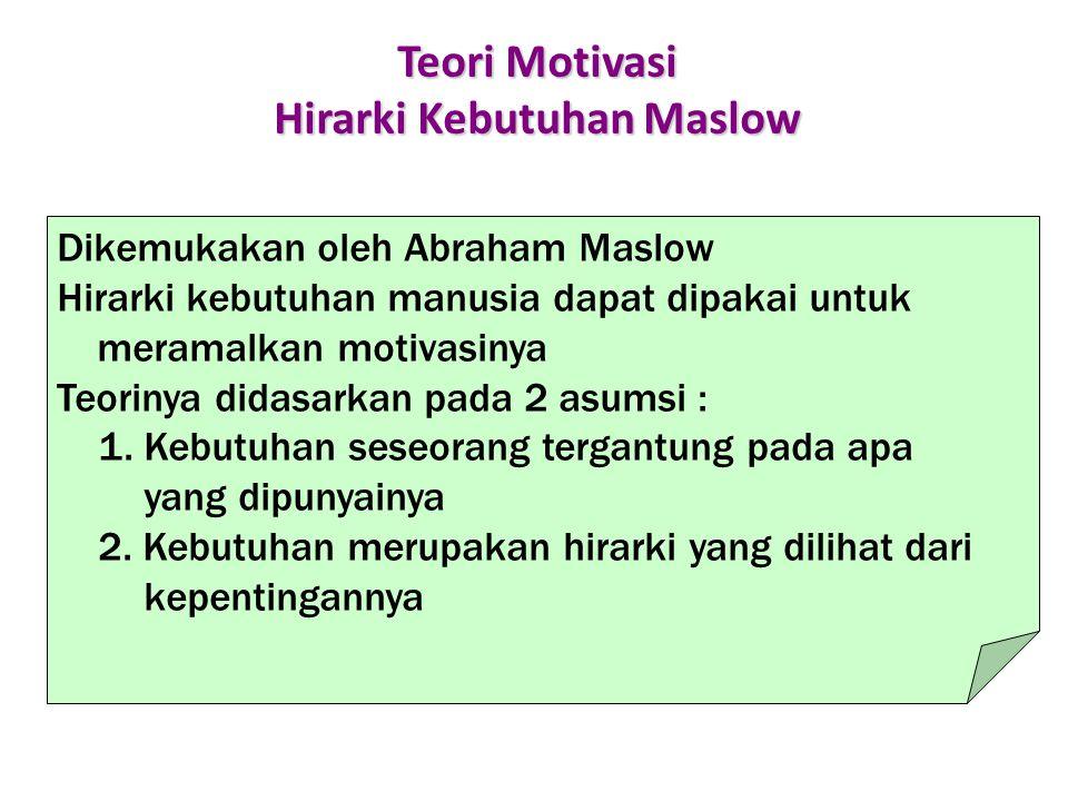 Teori Motivasi Hirarki Kebutuhan Maslow Dikemukakan oleh Abraham Maslow Hirarki kebutuhan manusia dapat dipakai untuk meramalkan motivasinya Teorinya