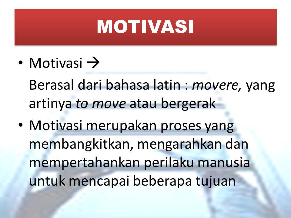 MOTIVASI Motivasi  Berasal dari bahasa latin : movere, yang artinya to move atau bergerak Motivasi merupakan proses yang membangkitkan, mengarahkan d