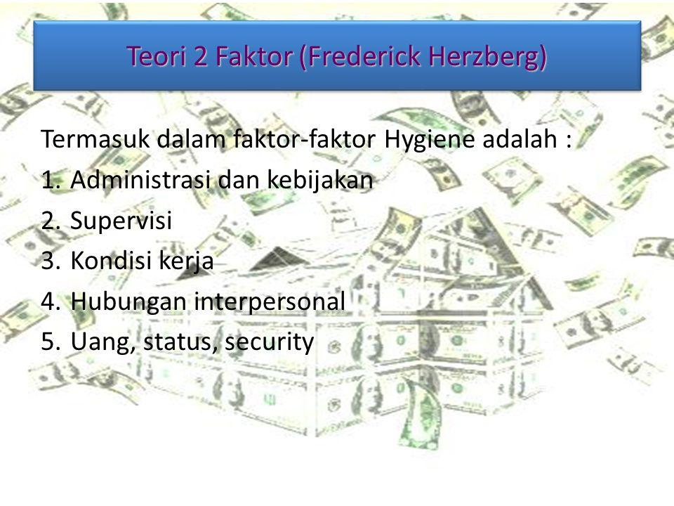Teori 2 Faktor (Frederick Herzberg) Termasuk dalam faktor-faktor Hygiene adalah : 1.Administrasi dan kebijakan 2.Supervisi 3.Kondisi kerja 4.Hubungan