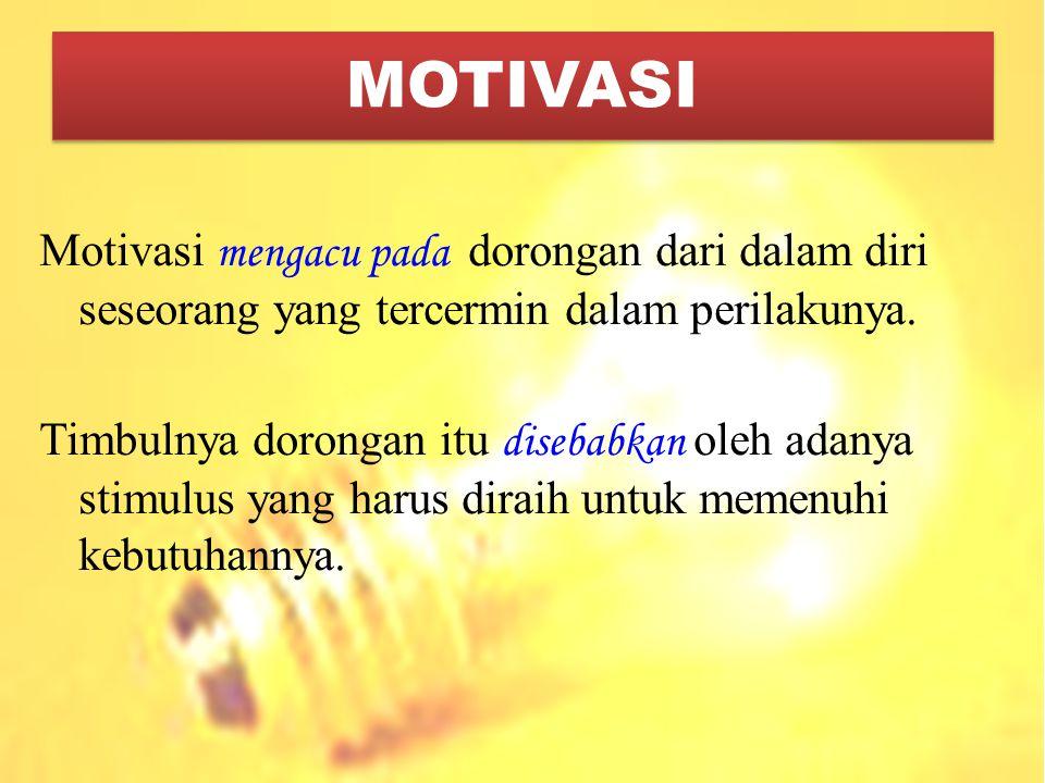 Motivasi m engacu pada dorongan dari dalam diri seseorang yang tercermin dalam perilakunya. Timbulnya dorongan itu d isebabkan oleh adanya stimulus ya