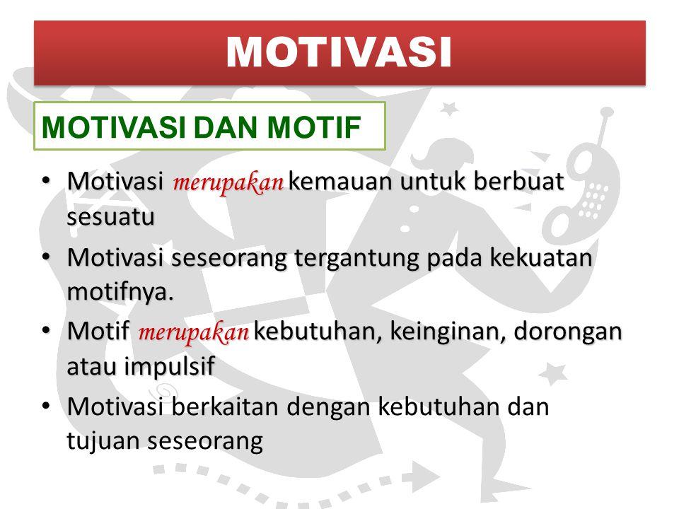 MOTIVASI DAN MOTIF Motivasi merupakan kemauan untuk berbuat sesuatu Motivasi merupakan kemauan untuk berbuat sesuatu Motivasi seseorang tergantung pad