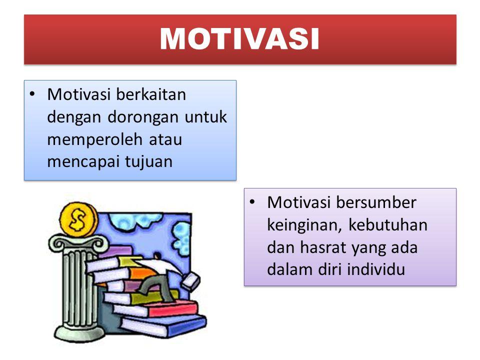 Motivasi berkaitan dengan dorongan untuk memperoleh atau mencapai tujuan Motivasi bersumber keinginan, kebutuhan dan hasrat yang ada dalam diri indivi