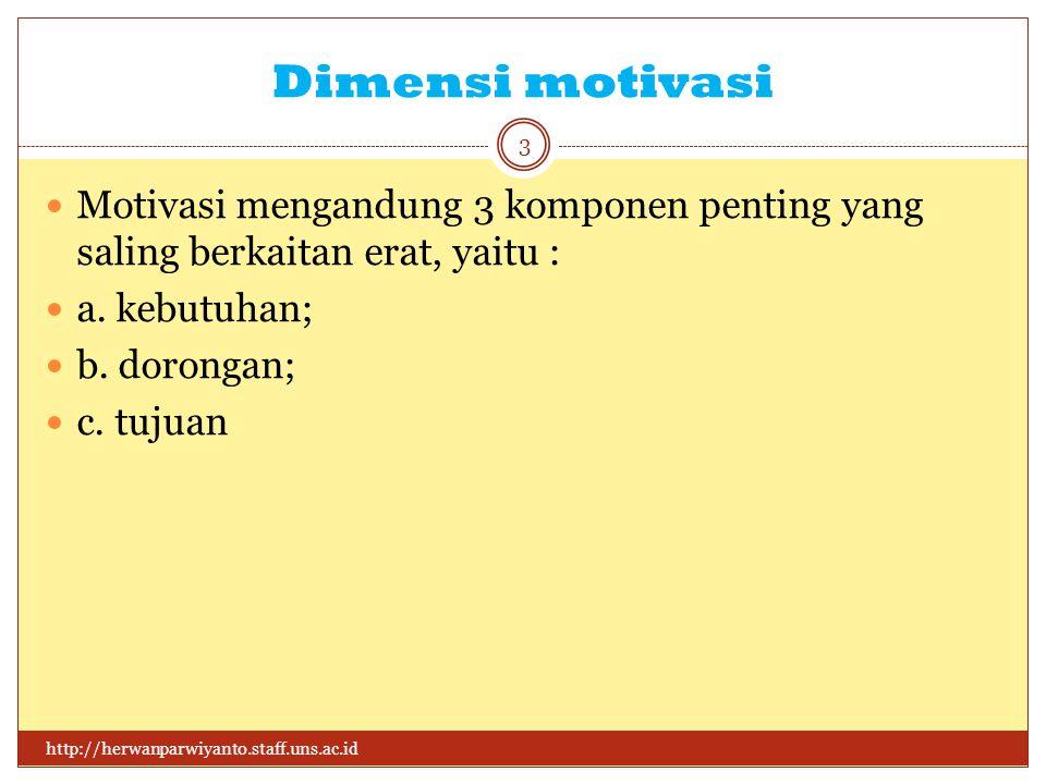 Dimensi motivasi http://herwanparwiyanto.staff.uns.ac.id 3 Motivasi mengandung 3 komponen penting yang saling berkaitan erat, yaitu : a.