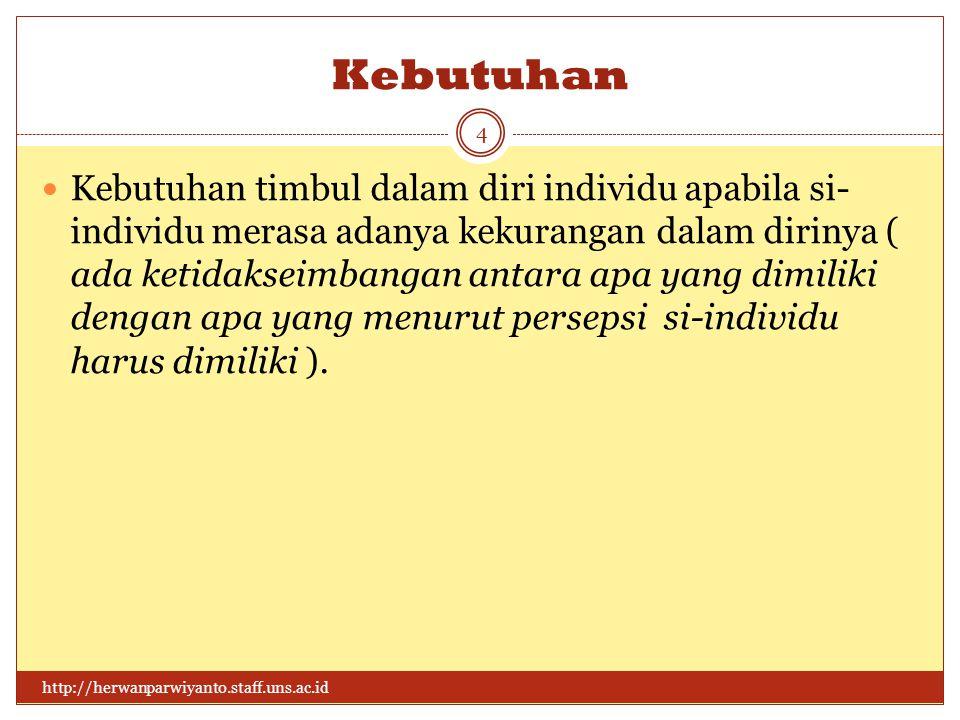 Kebutuhan http://herwanparwiyanto.staff.uns.ac.id 4 Kebutuhan timbul dalam diri individu apabila si- individu merasa adanya kekurangan dalam dirinya ( ada ketidakseimbangan antara apa yang dimiliki dengan apa yang menurut persepsi si-individu harus dimiliki ).