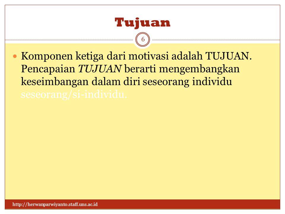 Tujuan http://herwanparwiyanto.staff.uns.ac.id 6 Komponen ketiga dari motivasi adalah TUJUAN.