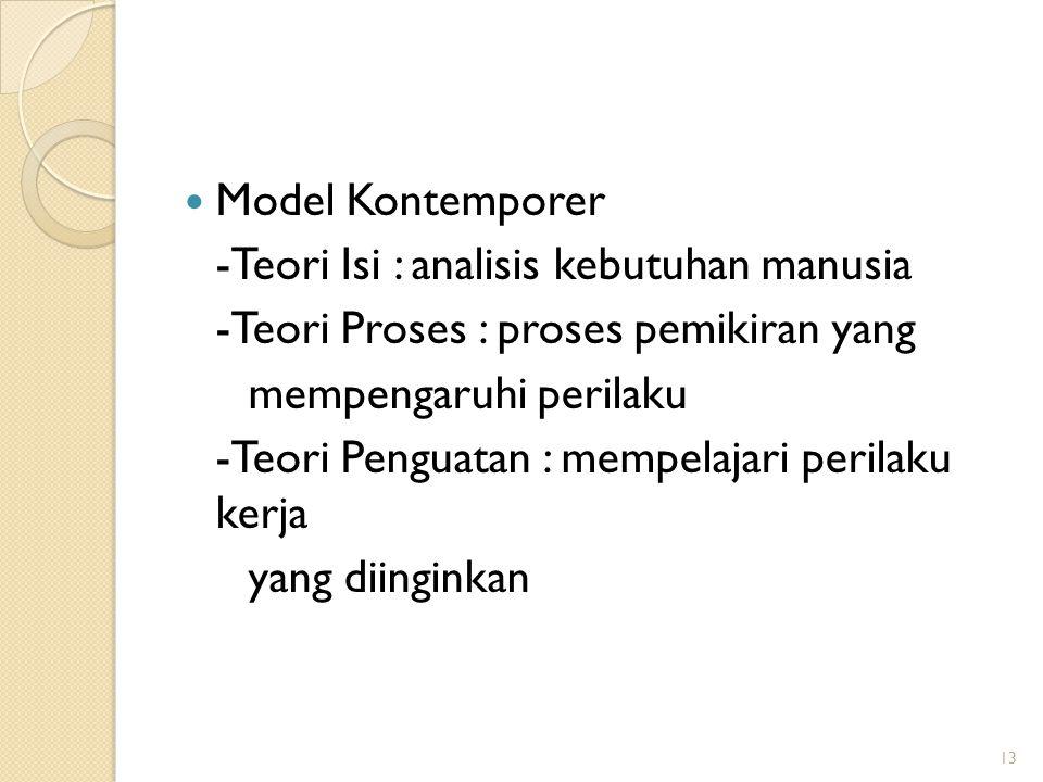 Model Kontemporer -Teori Isi : analisis kebutuhan manusia -Teori Proses : proses pemikiran yang mempengaruhi perilaku -Teori Penguatan : mempelajari p