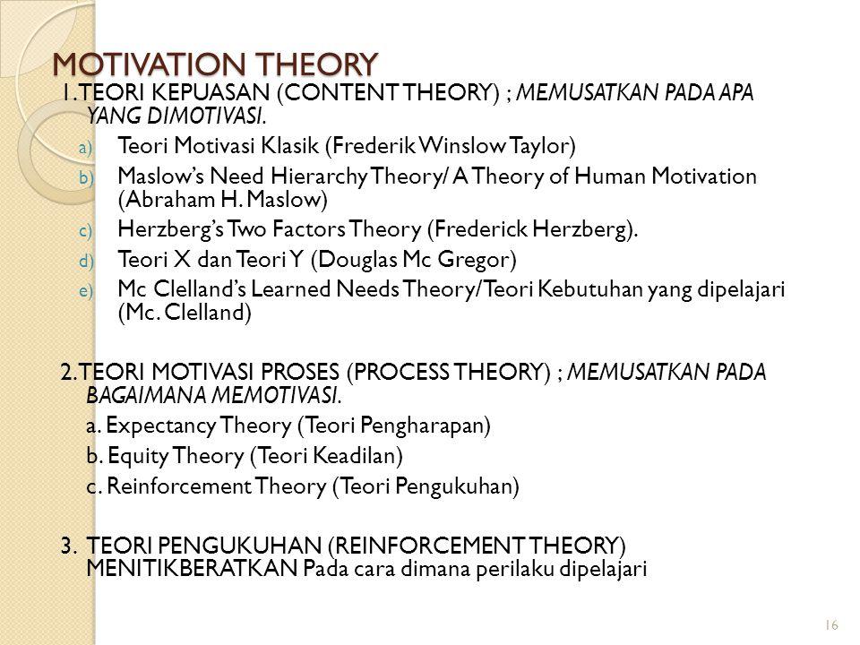 MOTIVATION THEORY 1. TEORI KEPUASAN (CONTENT THEORY) ; MEMUSATKAN PADA APA YANG DIMOTIVASI. a) Teori Motivasi Klasik (Frederik Winslow Taylor) b) Masl