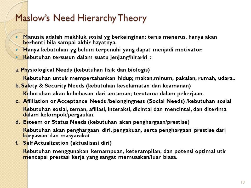 Maslow's Need Hierarchy Theory Manusia adalah makhluk sosial yg berkeinginan; terus menerus, hanya akan berhenti bila sampai akhir hayatnya. Hanya keb
