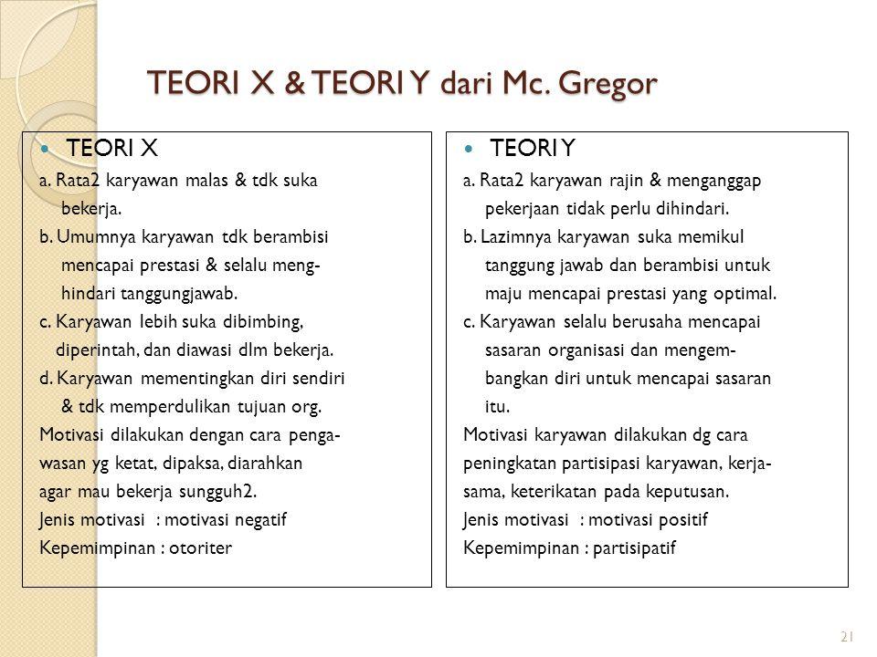 TEORI X & TEORI Y dari Mc. Gregor TEORI X a. Rata2 karyawan malas & tdk suka bekerja. b. Umumnya karyawan tdk berambisi mencapai prestasi & selalu men