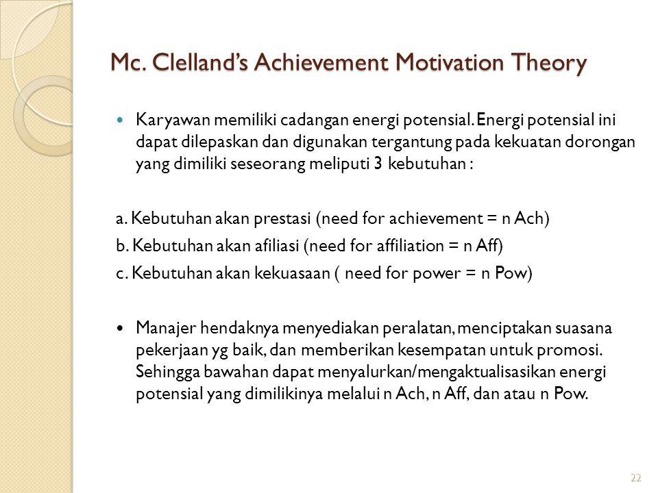 Mc. Clelland's Achievement Motivation Theory Karyawan memiliki cadangan energi potensial. Energi potensial ini dapat dilepaskan dan digunakan tergantu