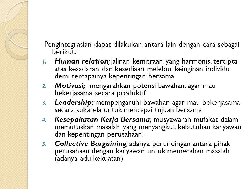 Pengintegrasian dapat dilakukan antara lain dengan cara sebagai berikut: 1. Human relation; jalinan kemitraan yang harmonis, tercipta atas kesadaran d