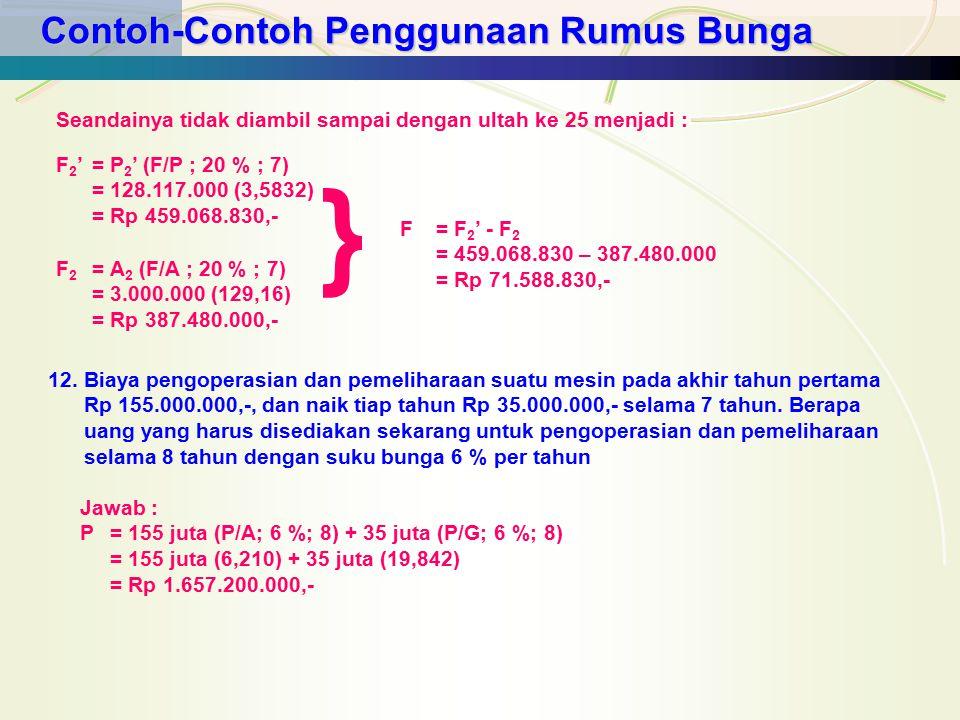 Contoh-Contoh Penggunaan Rumus Bunga F 2 '= P 2 ' (F/P ; 20 % ; 7) = 128.117.000 (3,5832) = Rp 459.068.830,- Seandainya tidak diambil sampai dengan ul