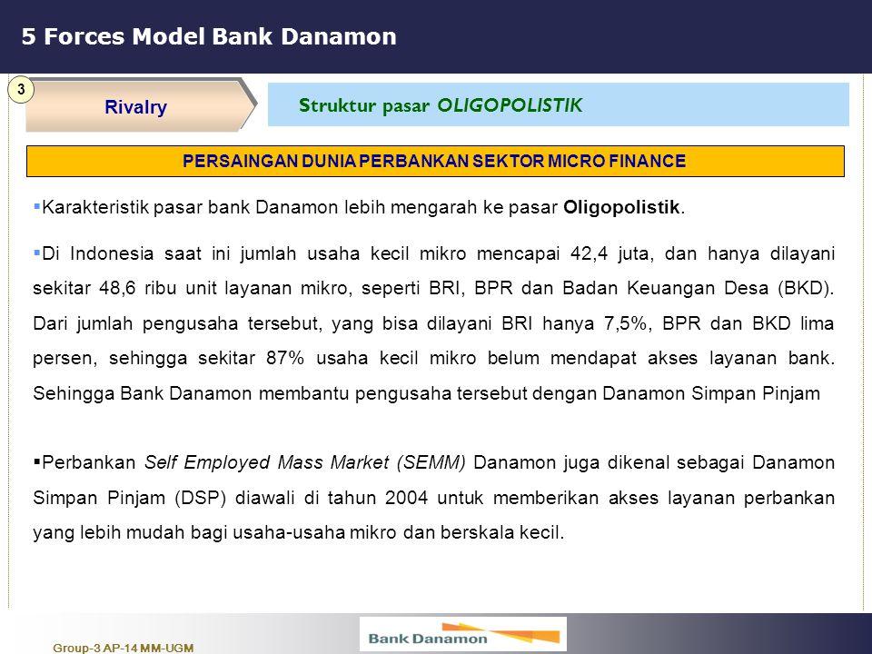 Group-3 AP-14 MM-UGM 5 Forces Model Bank Danamon Rivalry 3 Struktur pasar OLIGOPOLISTIK  Karakteristik pasar bank Danamon lebih mengarah ke pasar Oli