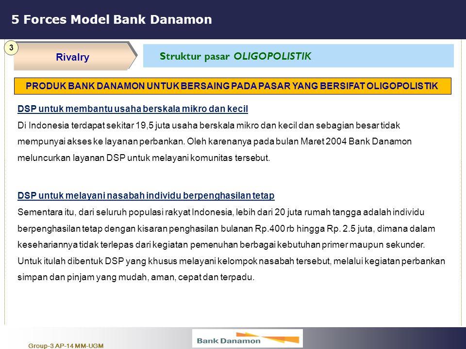 Group-3 AP-14 MM-UGM 5 Forces Model Bank Danamon Rivalry 3 Struktur pasar OLIGOPOLISTIK DSP untuk membantu usaha berskala mikro dan kecil Di Indonesia