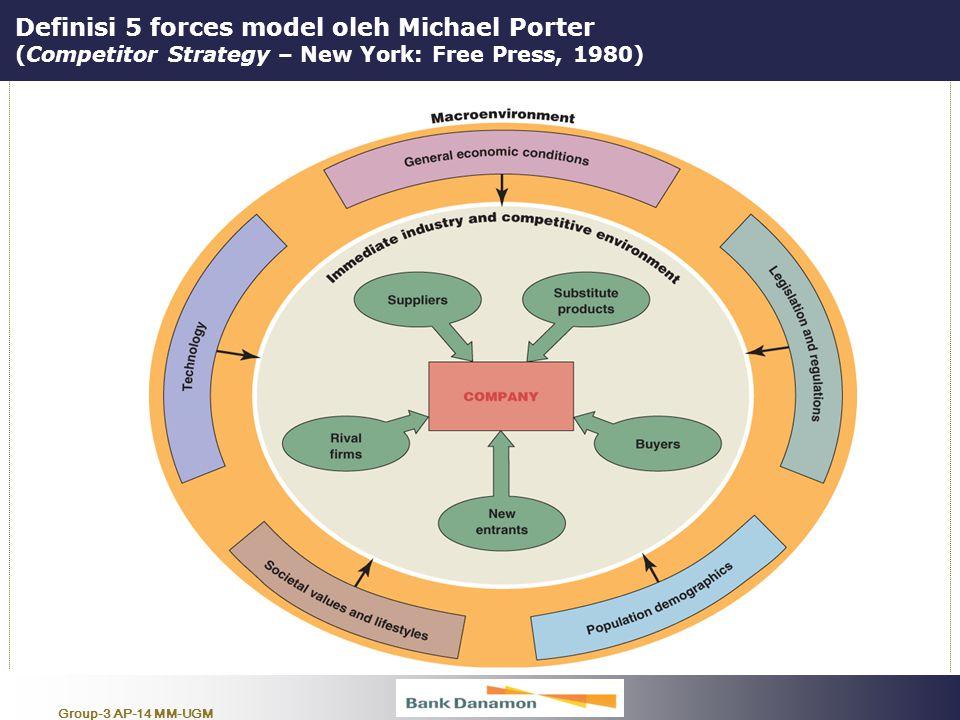 """Group-3 AP-14 MM-UGM Definisi 5 forces model oleh Michael Porter (Competitor Strategy – New York: Free Press, 1980) """" Alat analisa yang digunakan untu"""
