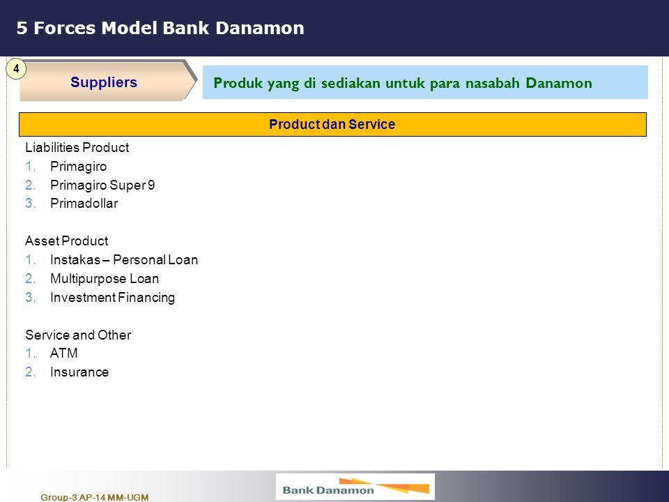 Group-3 AP-14 MM-UGM 5 Forces Model Bank Danamon Suppliers 4 Produk yang di sediakan untuk para nasabah Danamon Liabilities Product 1.Primagiro 2.Prim