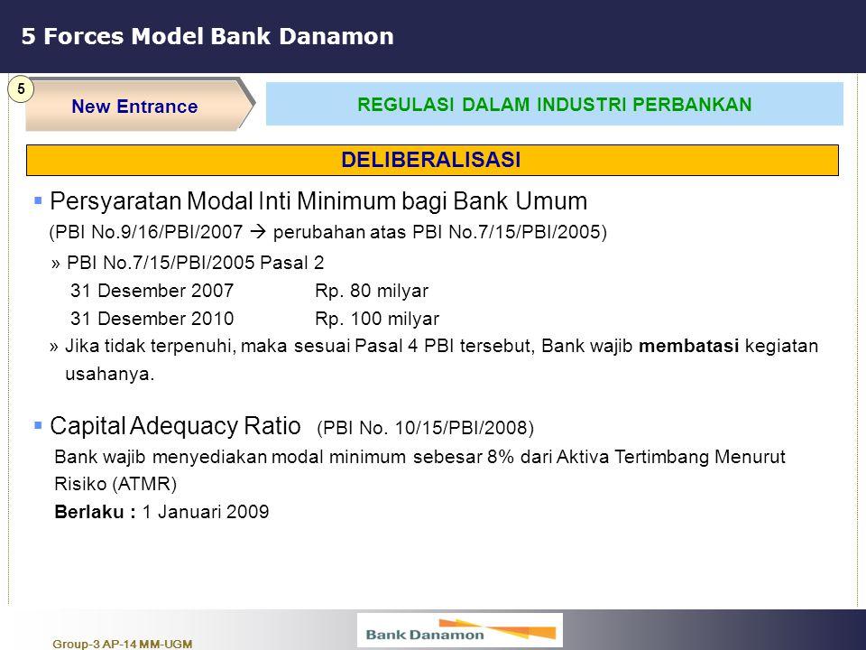 Group-3 AP-14 MM-UGM 5 Forces Model Bank Danamon New Entrance 5 REGULASI DALAM INDUSTRI PERBANKAN  Persyaratan Modal Inti Minimum bagi Bank Umum (PBI