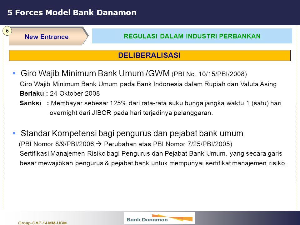 Group-3 AP-14 MM-UGM 5 Forces Model Bank Danamon New Entrance 5 REGULASI DALAM INDUSTRI PERBANKAN  Giro Wajib Minimum Bank Umum /GWM (PBI No. 10/15/P