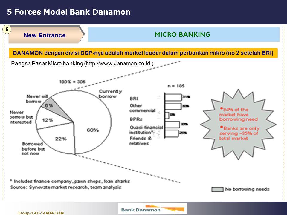 Group-3 AP-14 MM-UGM 5 Forces Model Bank Danamon New Entrance 5 MICRO BANKING DANAMON dengan divisi DSP-nya adalah market leader dalam perbankan mikro