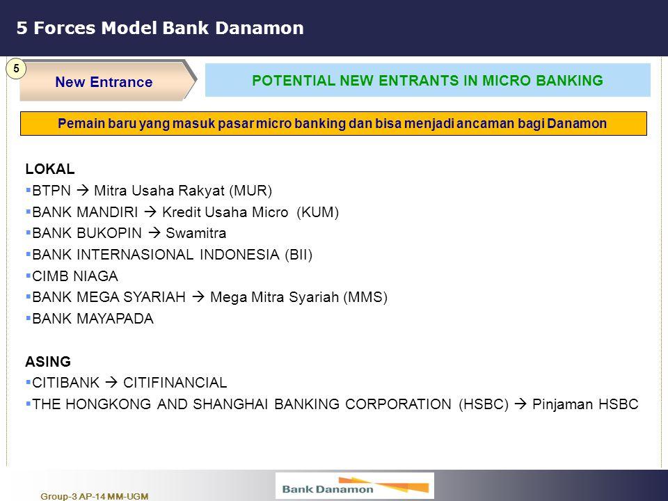 Group-3 AP-14 MM-UGM 5 Forces Model Bank Danamon New Entrance 5 POTENTIAL NEW ENTRANTS IN MICRO BANKING LOKAL  BTPN  Mitra Usaha Rakyat (MUR)  BANK