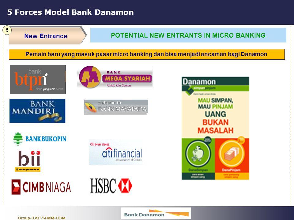 Group-3 AP-14 MM-UGM 5 Forces Model Bank Danamon New Entrance 5 POTENTIAL NEW ENTRANTS IN MICRO BANKING Pemain baru yang masuk pasar micro banking dan