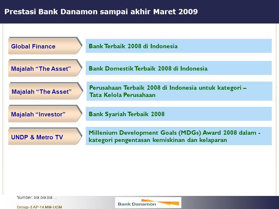 """Group-3 AP-14 MM-UGM Prestasi Bank Danamon sampai akhir Maret 2009 Global Finance Bank Terbaik 2008 di Indonesia Majalah """"The Asset"""" Bank Domestik Ter"""