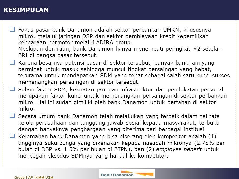 Group-3 AP-14 MM-UGM KESIMPULAN  Fokus pasar bank Danamon adalah sektor perbankan UMKM, khususnya mikro, melalui jaringan DSP dan sektor pembiayaan k