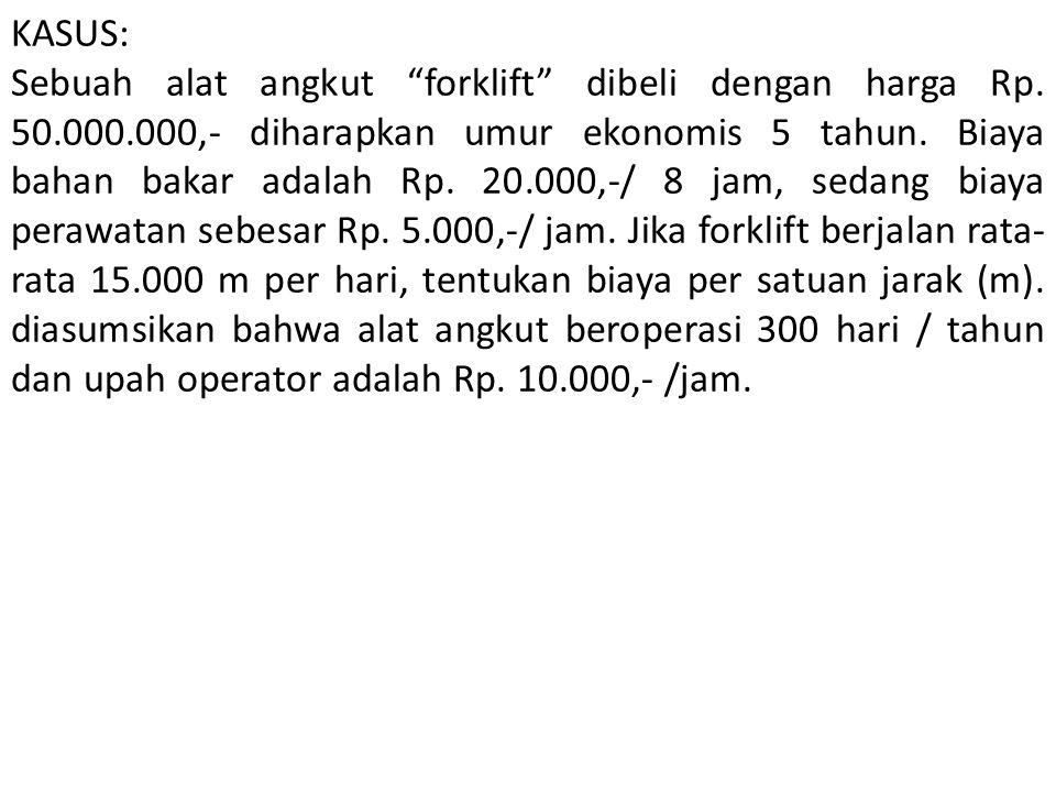 """KASUS: Sebuah alat angkut """"forklift"""" dibeli dengan harga Rp. 50.000.000,- diharapkan umur ekonomis 5 tahun. Biaya bahan bakar adalah Rp. 20.000,-/ 8 j"""