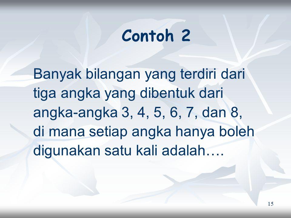 15 Contoh 2 Banyak bilangan yang terdiri dari tiga angka yang dibentuk dari angka-angka 3, 4, 5, 6, 7, dan 8, di mana setiap angka hanya boleh digunakan satu kali adalah….