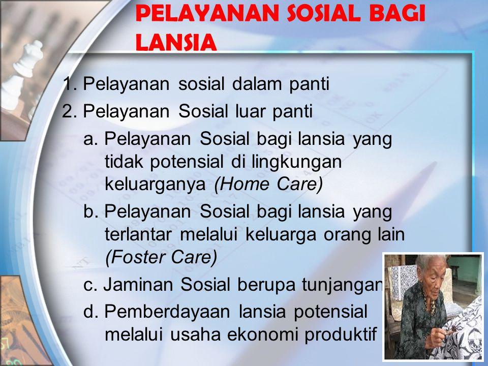 PELAYANAN SOSIAL BAGI LANSIA 1. Pelayanan sosial dalam panti 2. Pelayanan Sosial luar panti a. Pelayanan Sosial bagi lansia yang tidak potensial di li