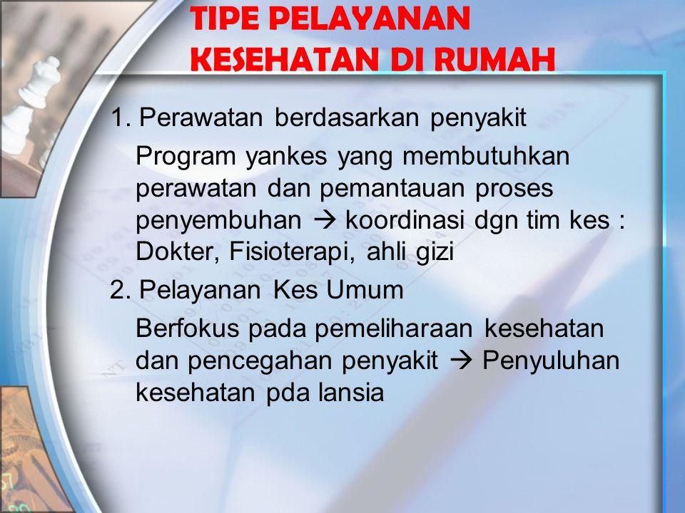 TIPE PELAYANAN KESEHATAN DI RUMAH (Lanjutan) 3.