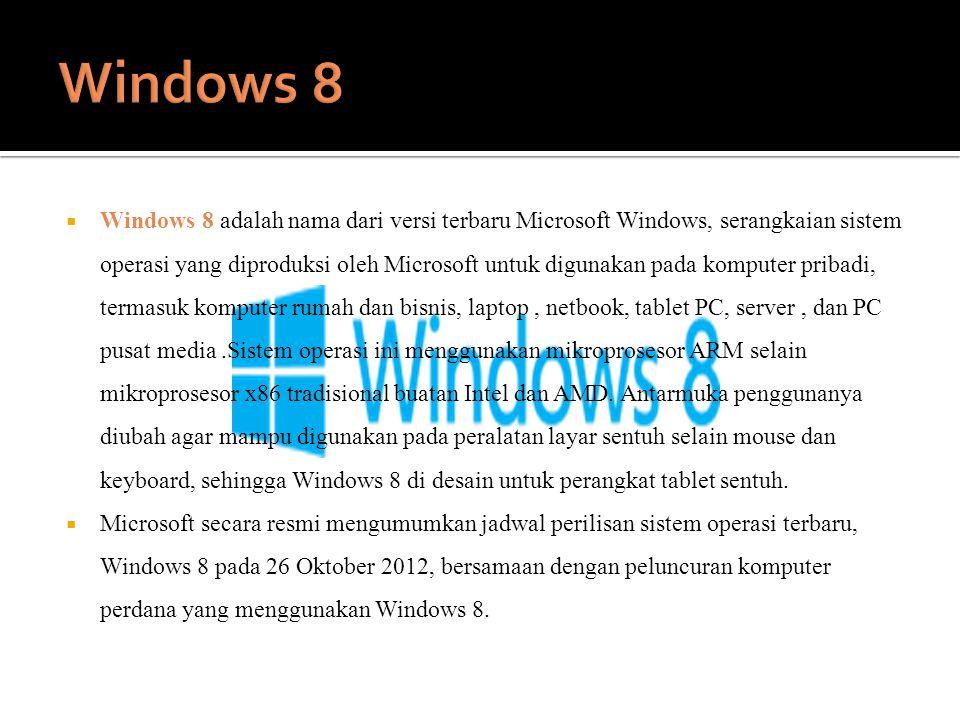  Windows 8 adalah nama dari versi terbaru Microsoft Windows, serangkaian sistem operasi yang diproduksi oleh Microsoft untuk digunakan pada komputer