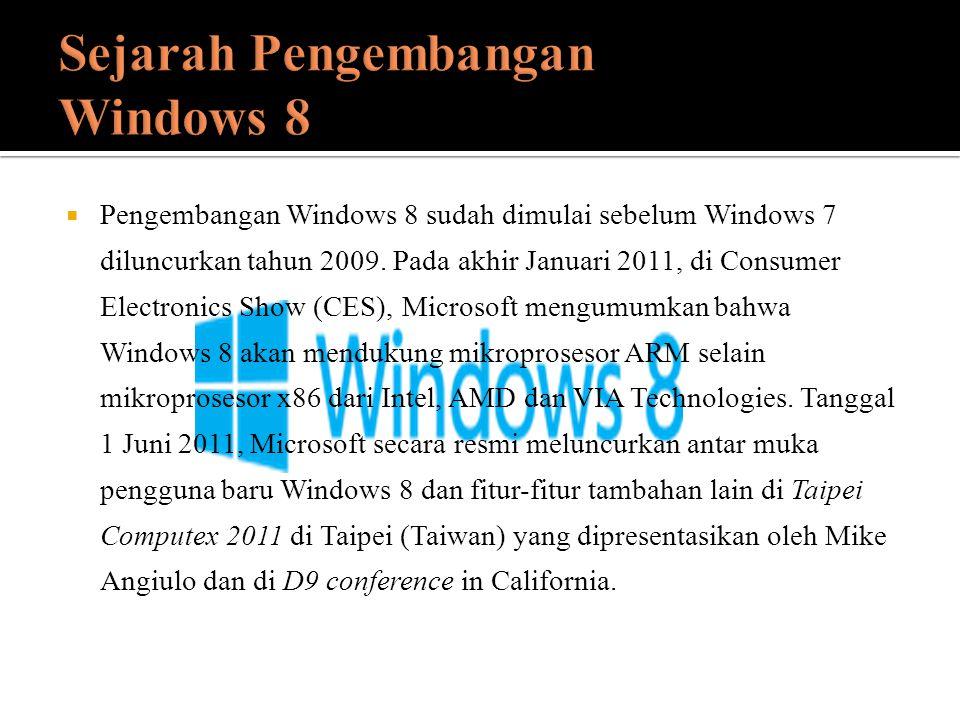  Pengembangan Windows 8 sudah dimulai sebelum Windows 7 diluncurkan tahun 2009. Pada akhir Januari 2011, di Consumer Electronics Show (CES), Microsof