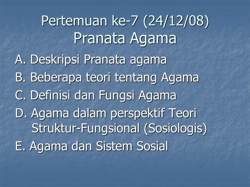 Pertemuan ke-7 (24/12/08) Pranata Agama A.Deskripsi Pranata agama B.