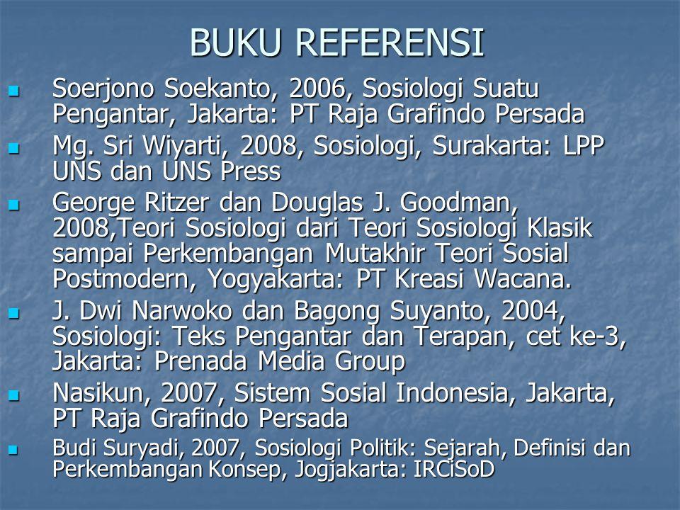 BUKU REFERENSI Soerjono Soekanto, 2006, Sosiologi Suatu Pengantar, Jakarta: PT Raja Grafindo Persada Soerjono Soekanto, 2006, Sosiologi Suatu Pengantar, Jakarta: PT Raja Grafindo Persada Mg.