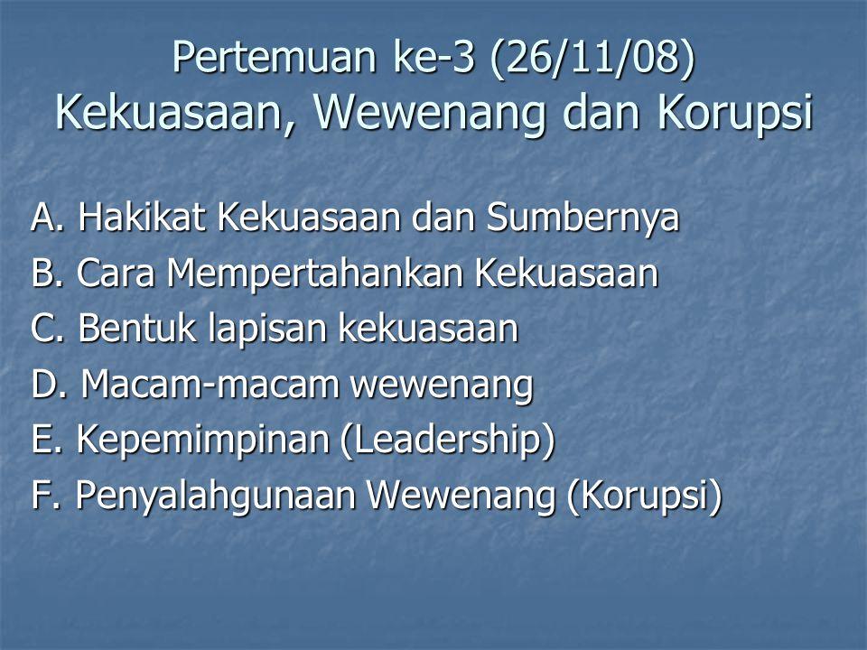 Pertemuan ke-3 (26/11/08) Kekuasaan, Wewenang dan Korupsi A.