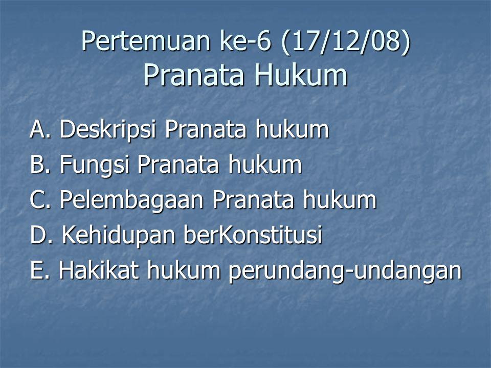 Pertemuan ke-6 (17/12/08) Pranata Hukum A.Deskripsi Pranata hukum B.