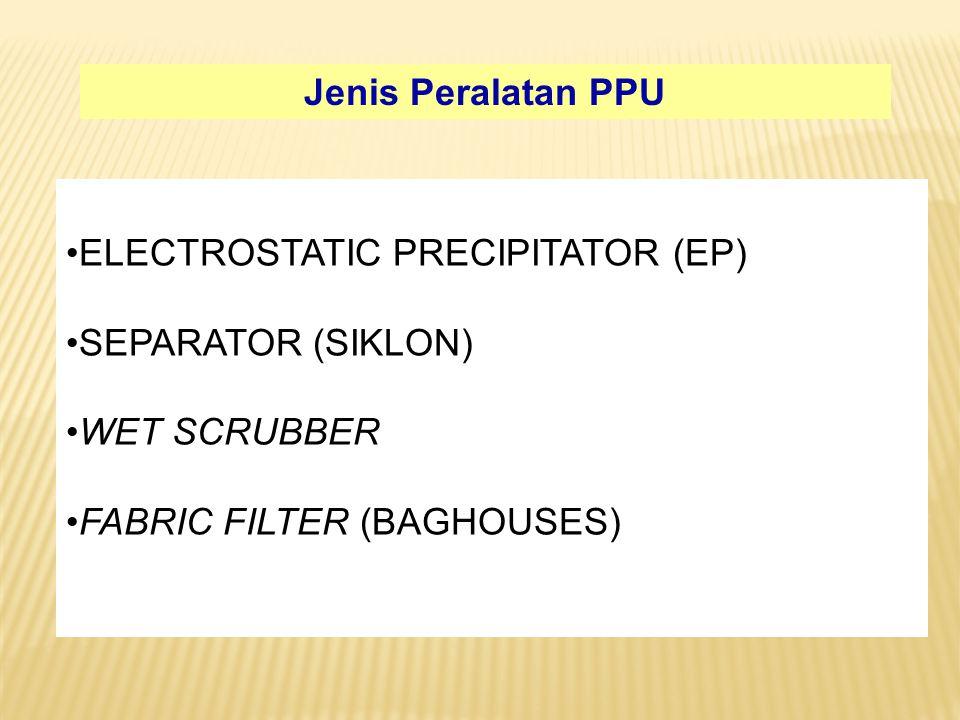 ELECTROSTATIC PRECIPITATOR (EP) SEPARATOR (SIKLON) WET SCRUBBER FABRIC FILTER (BAGHOUSES) Jenis Peralatan PPU