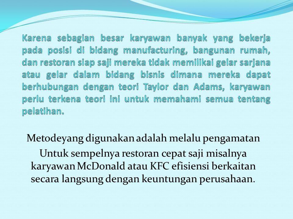 Metodeyang digunakan adalah melalu pengamatan Untuk sempelnya restoran cepat saji misalnya karyawan McDonald atau KFC efisiensi berkaitan secara langsung dengan keuntungan perusahaan.