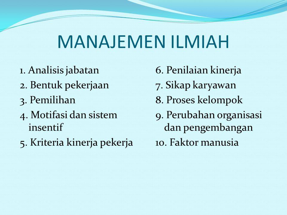 MANAJEMEN ILMIAH 1. Analisis jabatan 2. Bentuk pekerjaan 3.
