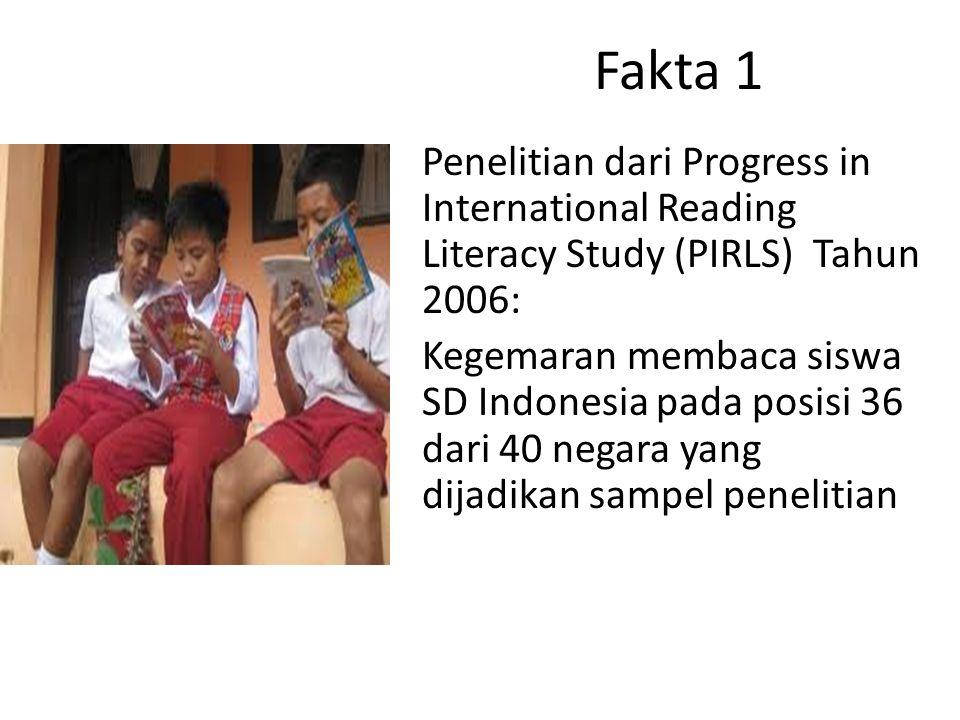 Fakta 1 Penelitian dari Progress in International Reading Literacy Study (PIRLS) Tahun 2006: Kegemaran membaca siswa SD Indonesia pada posisi 36 dari