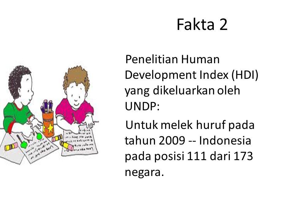Fakta 2 Penelitian Human Development Index (HDI) yang dikeluarkan oleh UNDP: Untuk melek huruf pada tahun 2009 -- Indonesia pada posisi 111 dari 173 n