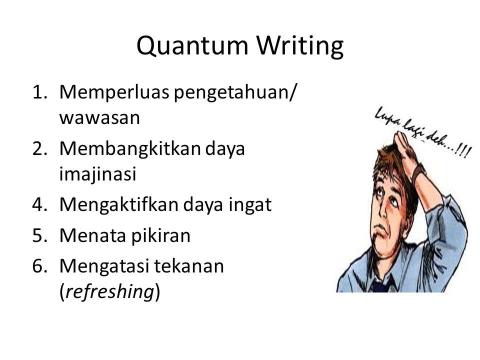 Quantum Writing 1.Memperluas pengetahuan/ wawasan 2.Membangkitkan daya imajinasi 4.Mengaktifkan daya ingat 5.Menata pikiran 6.Mengatasi tekanan (refre