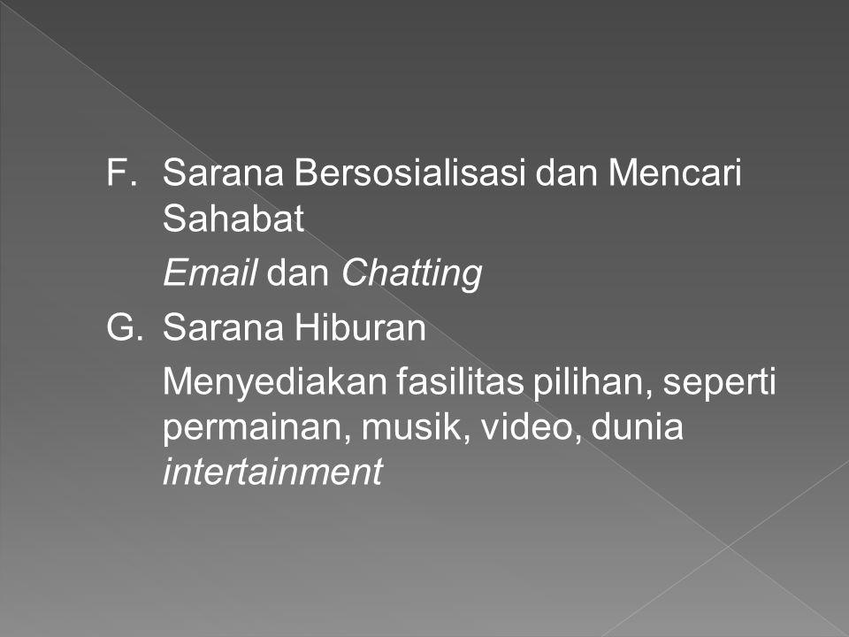 F.Sarana Bersosialisasi dan Mencari Sahabat Email dan Chatting G.Sarana Hiburan Menyediakan fasilitas pilihan, seperti permainan, musik, video, dunia