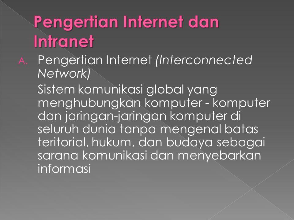 A. Pengertian Internet (Interconnected Network) Sistem komunikasi global yang menghubungkan komputer - komputer dan jaringan-jaringan komputer di selu